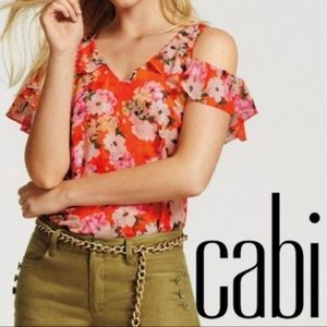 Beautiful Cabi floral Blouse on & off shoulder SML